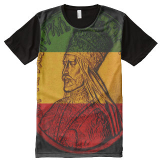 Haile Selassie por todo o lado no t-shirt do Camisetas Com Impressão Frontal Completa