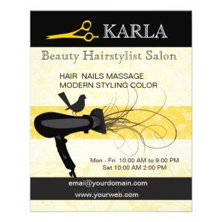 Hairstylist do salão de beleza & dos termas modelos de panfleto