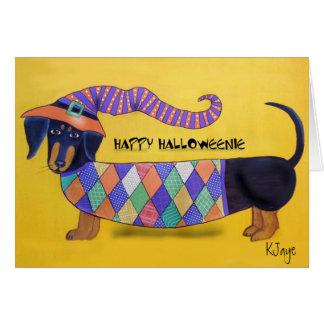 Halloweenie feliz - cartão do Dachshund do Dia das