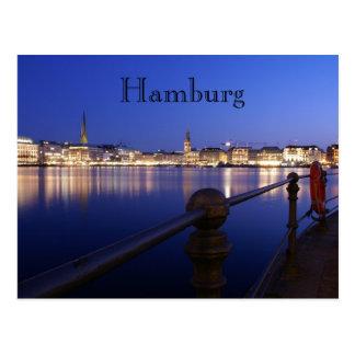 Hamburgo Binnenalster horas azuis cartão postal