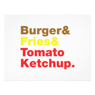 Hamburguer & fritadas & ketchup de tomate flyer 21.59 x 27.94cm