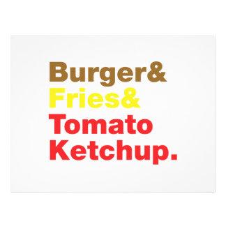 Hamburguer & fritadas & ketchup de tomate modelo de panfletos