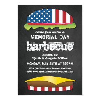 Hamburguer patriótico do CHURRASCO do Memorial Day Convite 12.7 X 17.78cm