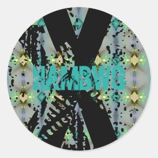 HAMbWG - etiqueta - logotipo afligido X do fulgor
