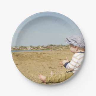 HAMbyWG - placas de papel - bebê na praia Prato De Papel