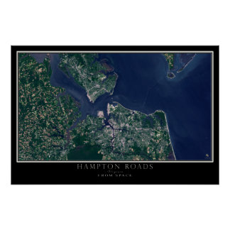 Hampton Roads Virgínia do mapa do satélite do Pôster