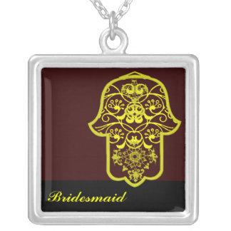 Hamsa floral (amarelo) (casamento) colar com pendente quadrado
