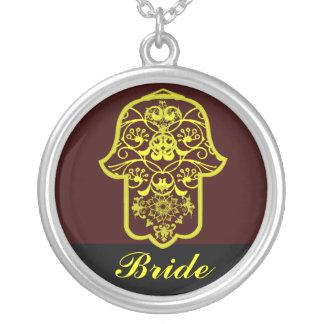 Hamsa floral (amarelo) (casamento) colar com pendente redondo