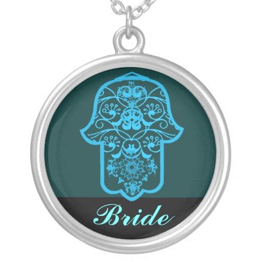 Hamsa floral (azul) (casamento) colar personalizado
