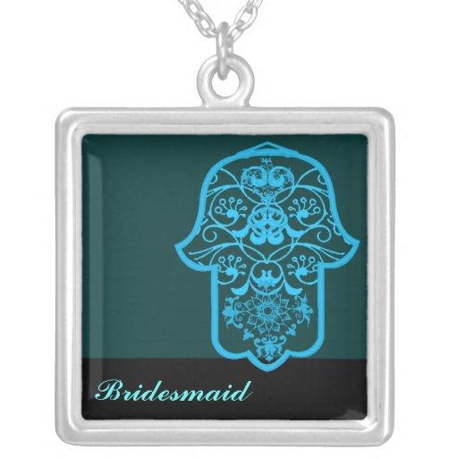 Hamsa floral (azul) (casamento) bijuterias personalizadas