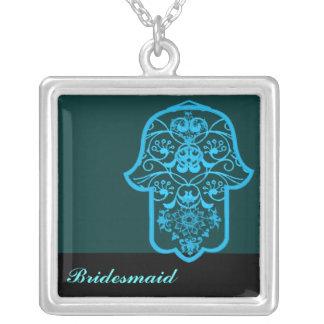 Hamsa floral (azul) (casamento) colar com pendente quadrado