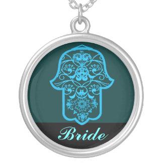 Hamsa floral (azul) (casamento) colar com pendente redondo
