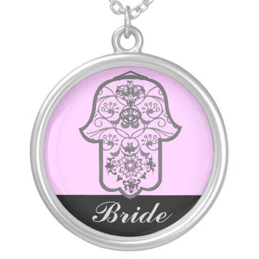 Hamsa floral (casamento) colar personalizado