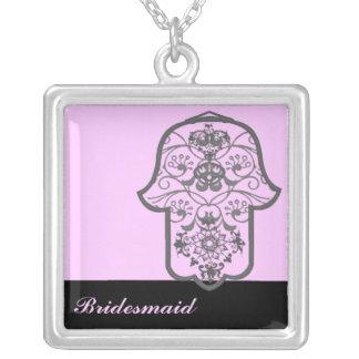 Hamsa floral (casamento) colar com pendente quadrado