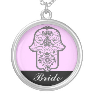 Hamsa floral (casamento) colar com pendente redondo