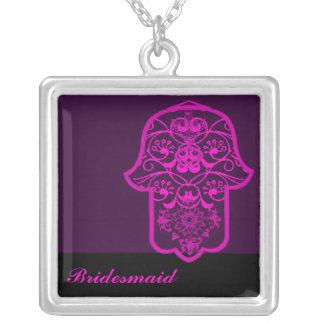 Hamsa floral (rosa) (casamento) colar com pendente quadrado