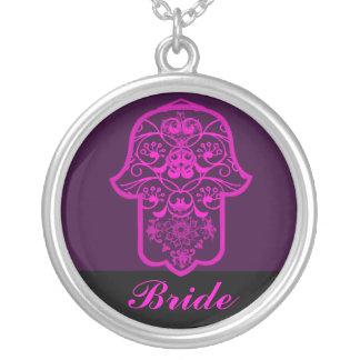 Hamsa floral rosa casamento pingente
