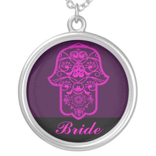 Hamsa floral (rosa) (casamento) pingente