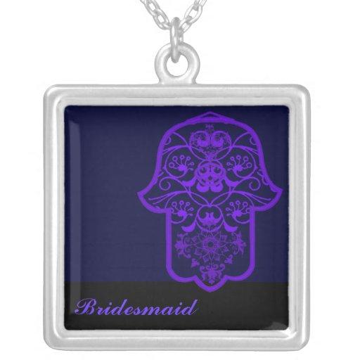 Hamsa floral (roxo) (casamento) colares personalizados