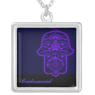 Hamsa floral (roxo) (casamento) colar com pendente quadrado