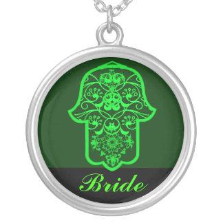 Hamsa floral (verde) (casamento) colar com pendente redondo