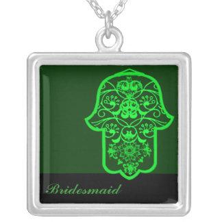 Hamsa floral (verde) (casamento) colar com pendente quadrado