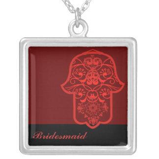 Hamsa floral (vermelho) (casamento) colar com pendente quadrado