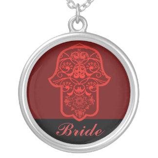 Hamsa floral (vermelho) (casamento) colar com pendente redondo