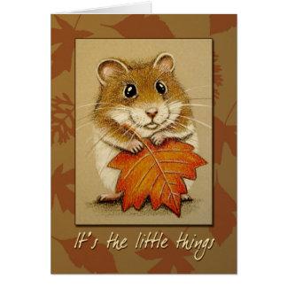 Hamster & folha do outono - cartão da acção de