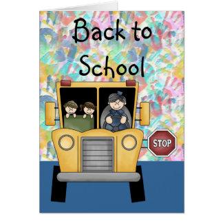 Handprints & auto escolar de volta ao cartão da