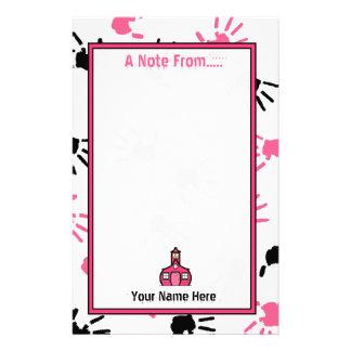 Handprints cor-de-rosa & preto dos artigos de papelaria