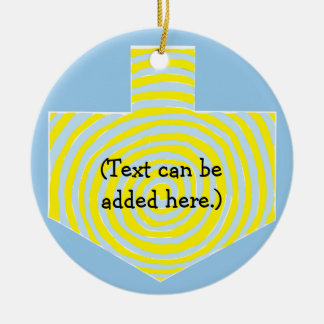Hanukkah Dreidel/ornamento azul/amarelo do círculo Ornamento De Cerâmica
