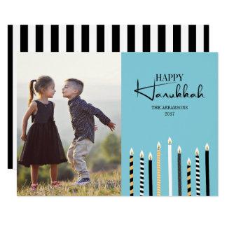 Hanukkah feliz moderno Candles o cartão com fotos
