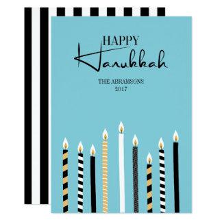 Hanukkah feliz moderno Candles o cartão do feriado