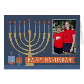 Hanukkah ilumina o cartão com foto
