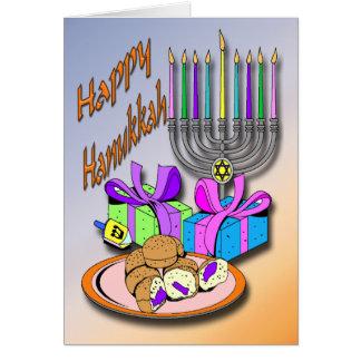 Hanukkah - rosquinhas, Menorah, cartão de Dreidel
