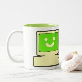 happy computer mug caneca de café em dois tons