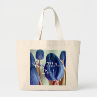 Happy Mother's Day Blue Tulips Canvas Bag