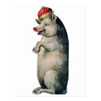 Happy pig king cartoes postais