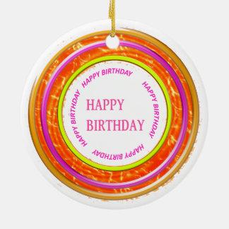 HappyBIRTHDAY feliz+ORNAMENTO DO ANIVERSÁRIO Ornamento De Cerâmica Redondo