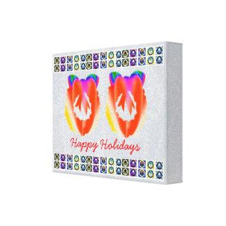 HappyHolidays RedRuby - decorações da grinalda Impressão De Canvas Envolvida