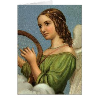Harpa da música do anjo do Victorian do natal Cartão Comemorativo