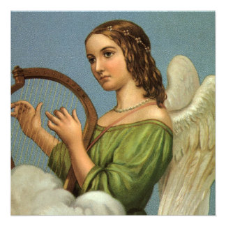Harpa da música do anjo do Victorian do natal vint Convite Personalizado