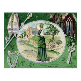 Harpa irlandesa maciça católica da igreja da mulhe cartão postal
