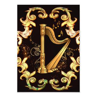 harpa, música, musical, instrumento, som, melodia, convite 12.7 x 17.78cm