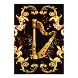 harpa, música, musical, instrumento, som, melodia, convite 8.89 x 12.7cm