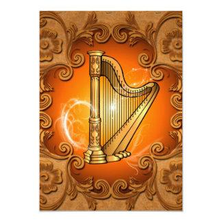 Harpa no ouro com damascos elegantes convite 12.7 x 17.78cm
