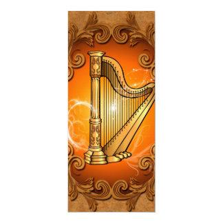 Harpa no ouro com damascos elegantes convite 10.16 x 23.49cm