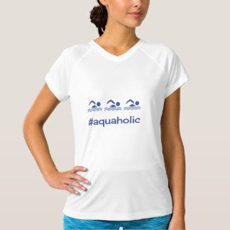 Hashtag azul nadador aquaholic camiseta