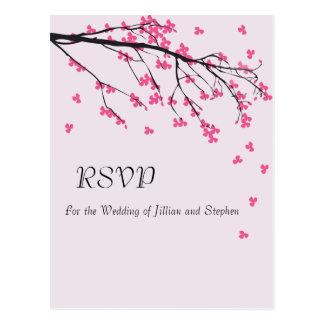 Haste da flor de cerejeira - cartão de RSVP